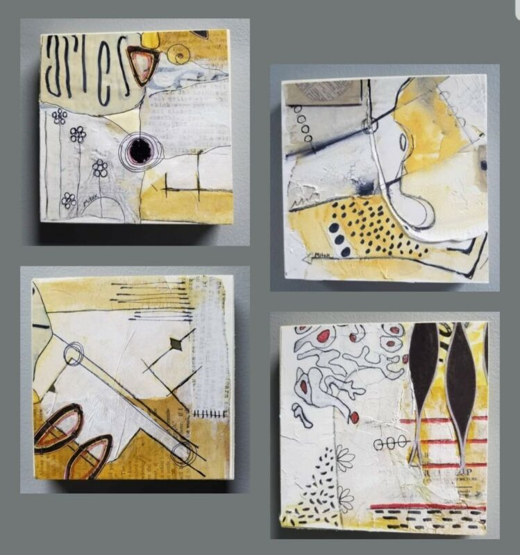 Four (4) | MiTaK Art  Signed Original  Abstract Mixed Media Collage  Paper Brown