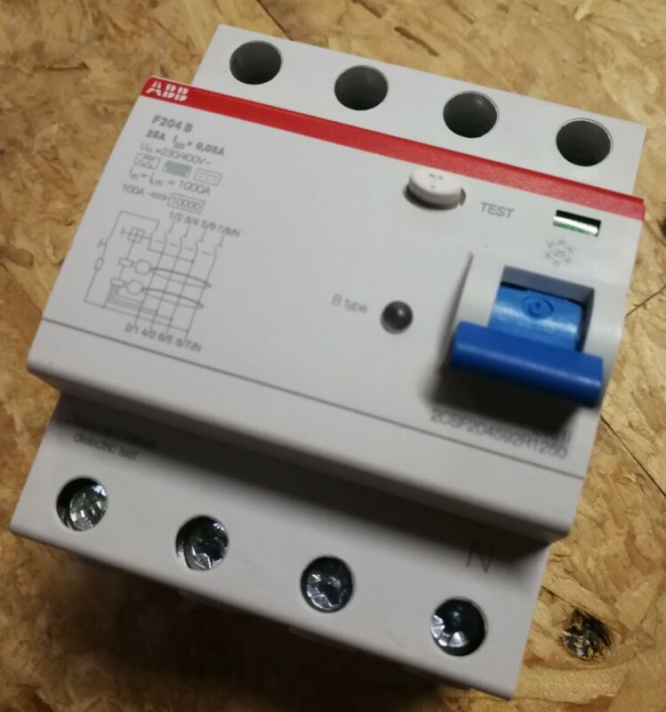 ABB F204B 25A 0,03A FI-Schutzschalter Typ-B 25A 30mA allstrom 2CSF204592R1250