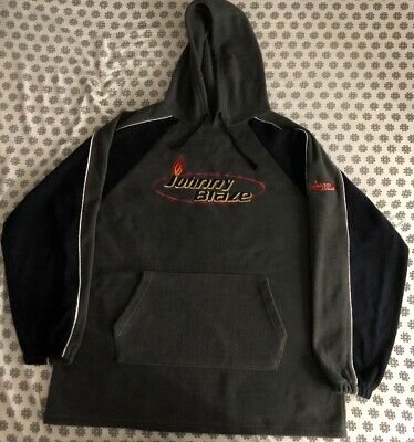 Vintage Johnny Blaze Fleece Hooded Sweater Size 2XL Grey/Black Fleece Vintage Blazer