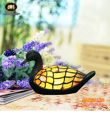 Makenier Decorative Tiffany Style Stained Glass Duck Table Lamp Night Light Ducks Stained Glass Tiffany Lamp
