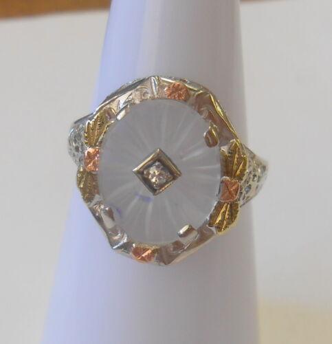 Vint Cut Crystal Star Gemstone 14K White Tri Color Gold Filigree Ring Size 6.75