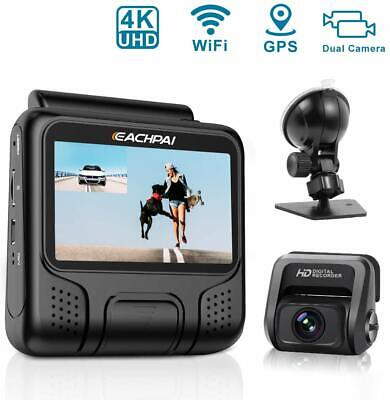 4K Dash Cam for Cars, E100 Pro Dash Camera Dual Front and Rear with WI-F