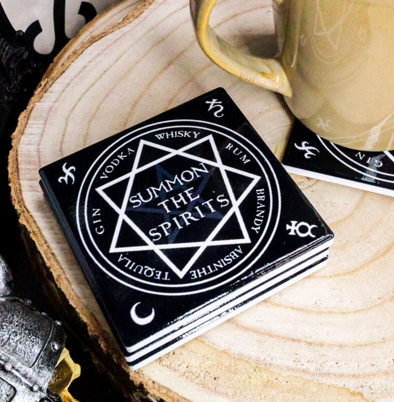 Ebros Occult Heptagram Star Summon The Spirits Cork Backed Coaster Set of 4