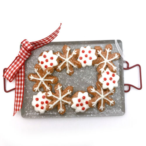 Snowflake Cookie Baking Sheet Ornament Frosted Fake Country Cottage Bakery R