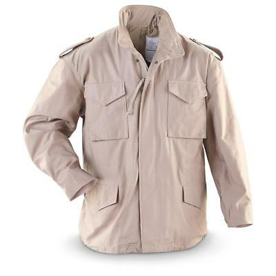 Military Jacket Men (Men's M-65 Field Jacket, GI Style, 100% Cotton, Khaki, Stained, Made in USA,)