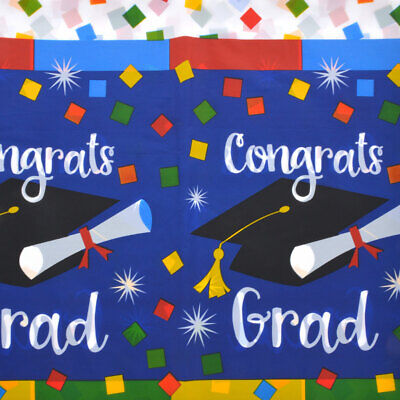 Graduation Table Cover, Colorful Congrats Grad Table Cloth, Luau, Party 54