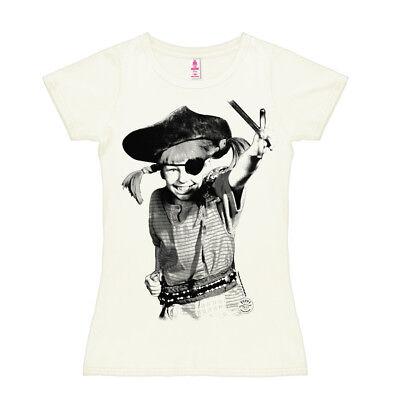 LOGOSHIRT - Kinderheldin Pippi Langstrumpf Pirat Frauen Damen T-Shirt, altweiß