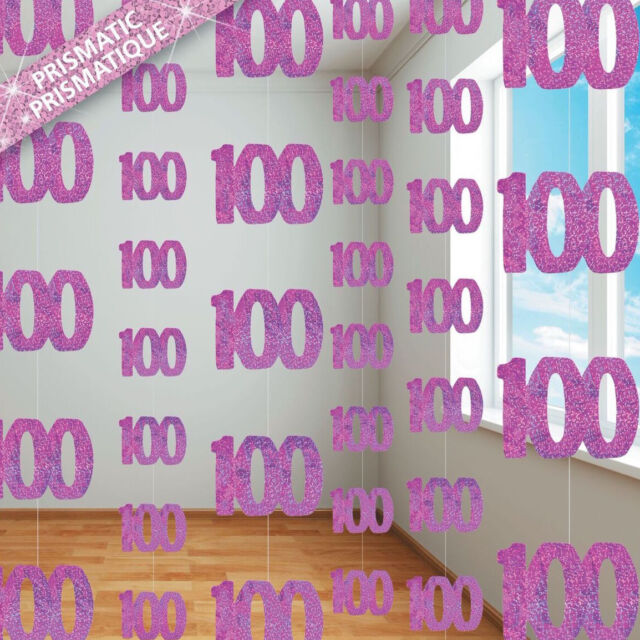 100th BIRTHDAY PARTY SUPPLIES PK 6 GLITZ PINK DANGLING HANGING DECORATIONS