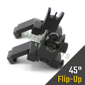 HJ-15 USA Front & Rear Flip Up 45 Degree Offset BUIS Backup Iron Sight US Seller