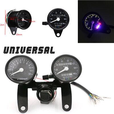 Racing Motorcycle Black Odometer Tachometer Dual Speedometer Gauge With Bracket