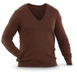 New Bulgarian Military Surplus V-Neck Wool Sweater Brown Stylish Men's Medium