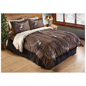 Deer queen comforter bedding set buck rustic hunting lodge for Hunting cabin bedroom
