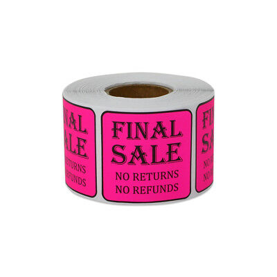 Final Sale Sticker Labels No Returns Refunds Sell Retail Store 1.5