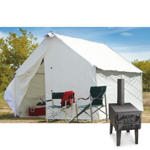 10 x 12 Canvas Wall Tent Bundle w/ Floor, Frame, & Outdoor Wood Stove Camp Cabin