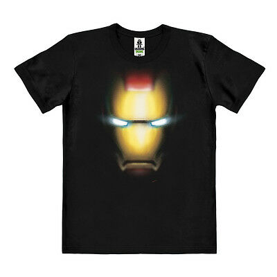 Easy Fit Shirt (LOGOSHIRT - Marvel Comics - Iron Man Gesicht - Easyfit Organic T-Shirt, schwarz)
