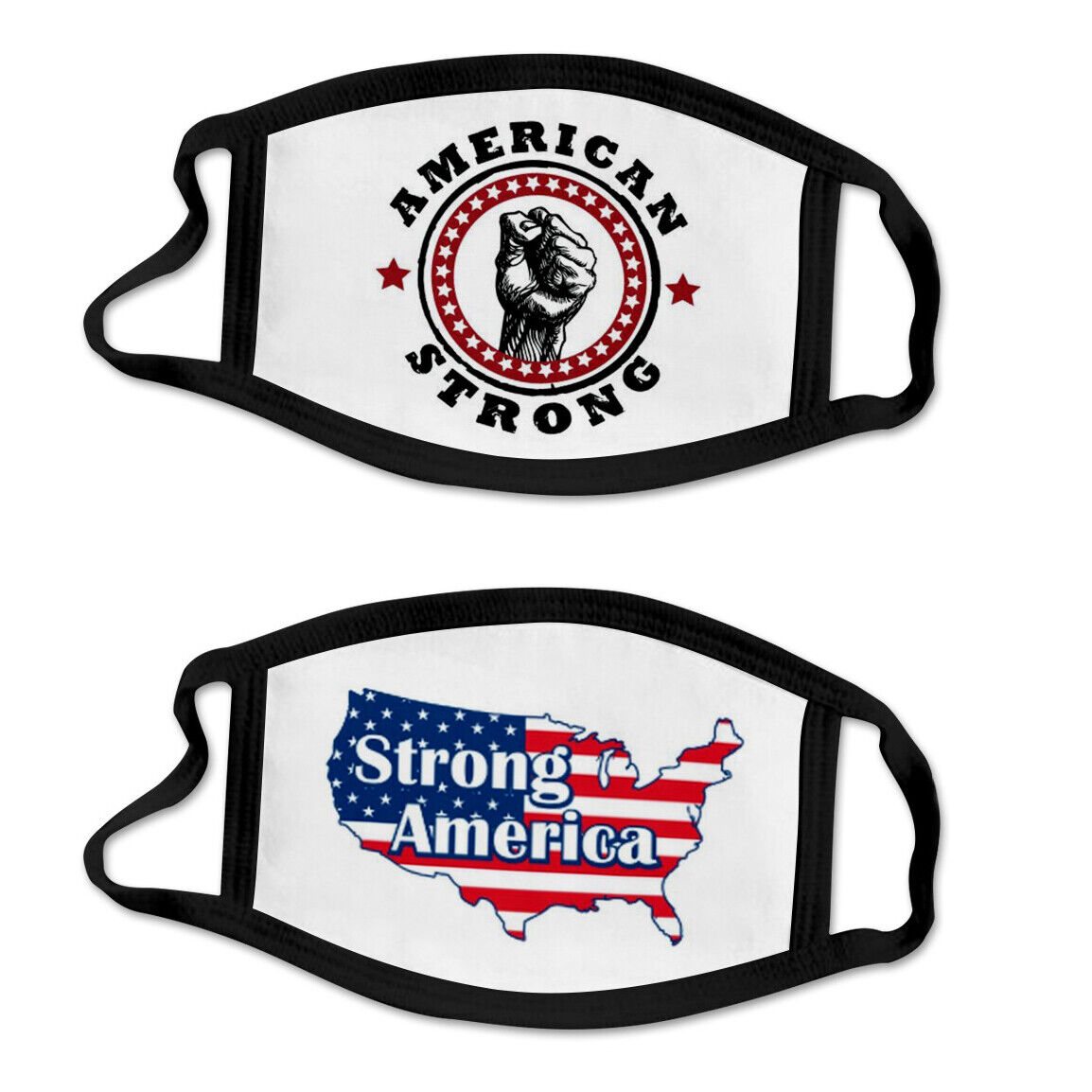 2 pcs American Strong America Fashion Cotton Half Face Cloth Masks Mouth Cover Accessories