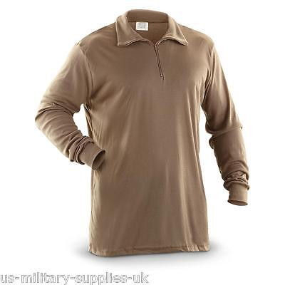 NEW US ARMY ECWCS POLYPRO COLD WEATHER THERMAL UNDERSHIRT/SHIRT. MEDIUM. BROWN.
