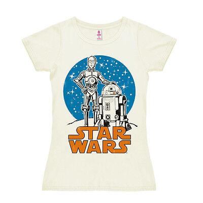 LOGOSHIRT: FIlm: Star Wars - Helden R2-D2 & C-3PO - Damen Frauen T-Shirt, weiss