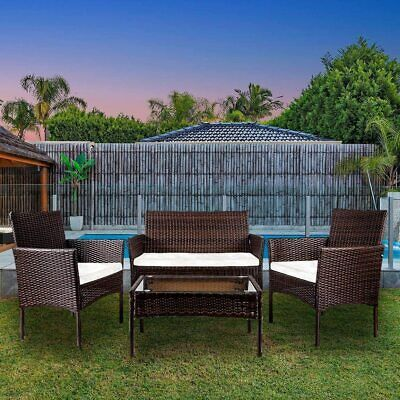 Garden Furniture - 4PCS Patio Ratten Garden Furniture Set Table & Chair Sofa Cushion Outdoor Indoor