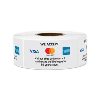 We Accept Card Sticker Store Credit Debit Card Sign Approval Labels 2x 14pk