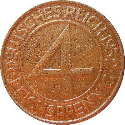 J315  4 Pfennig Weimar von 1932 A in SS+   666 225