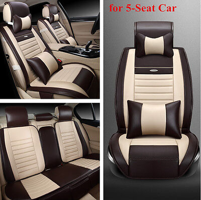 Full Set FrontRear Seat Cover with Pillow for 5 Seat Car PU Leather All Seasons