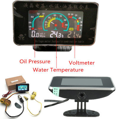 - 1PC LCD Digital Display Car Oil Pressure Water Temperature Gauge Meter Voltmeter