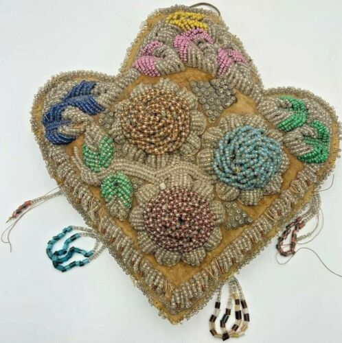 Antique Mohawk Extra Large Elaborate Beaded Pin Cushion Late 1800s-Early 1900s