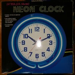 Retro Analog Wall Clock 14 Blue Neon Light Reliable Game Room Man Cave Bar NEW