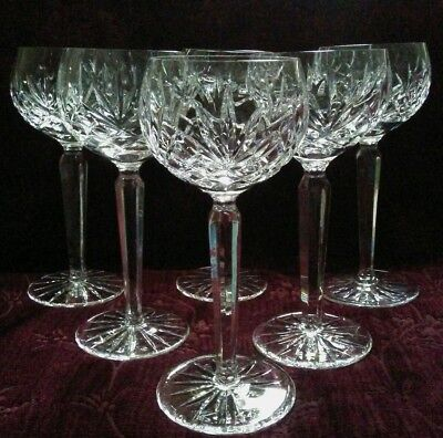 Stunning Clear Crystal Wine Hock Goblets - Set/6 - FREE U.S. Shipping Crystal Wine Hock