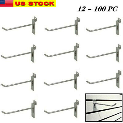 12-100 Slatwall Peg Hooks Chrome Metal 4 Slat Grid Wall Display 6mm Dia.tubing