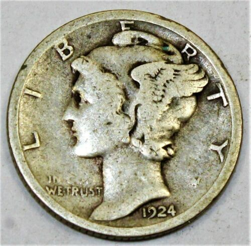1924 S Mercury Dime circulated 90% Silver  Good  to Very Good