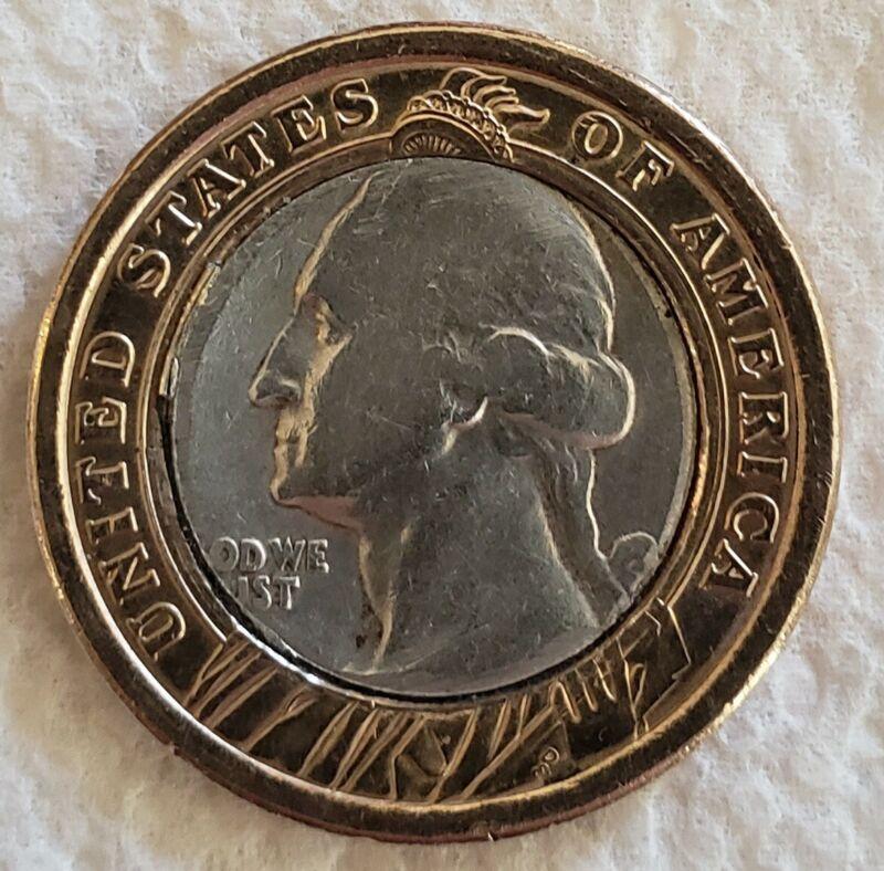 Coin Golf Ball Marker - Gold Presidential Dollar with 90% silver eagle slug