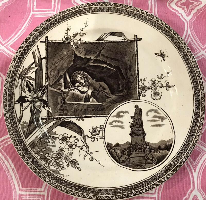 1800s Aesthetic movement Brown Transferware Plate Lion Of Lucerne