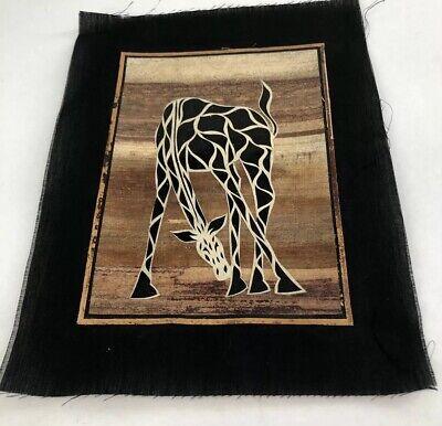 AFRICAN Banana Leaf Fiber Art PRINT Kenya Tribal Animals Safari Giraffe 13x9.75 for sale  Shipping to Canada