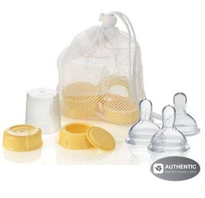 MEDELA Breastmilk Bottle Spare Parts with 3 Medium wide base Nipples NEW!