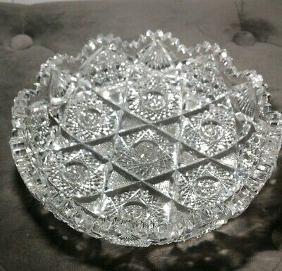 Antique American Brilliant Period Full Lead Crystal Nappy Bowl Excellent Conditi