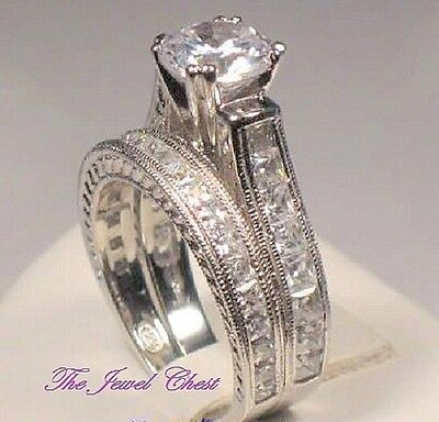 3.20 Ct Round Solitaire Engagement Ring Wedding set Antique Style White Gold ov Antique Style Wedding Ring