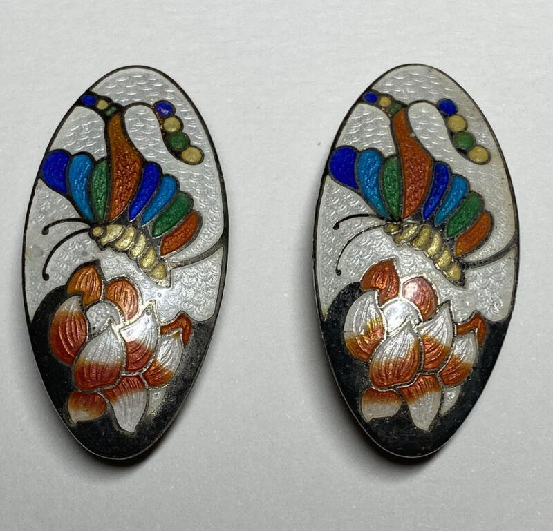 Vintage Multi Color White Cloisonne Enamel  Butterfly Lotus Clip On Earrings