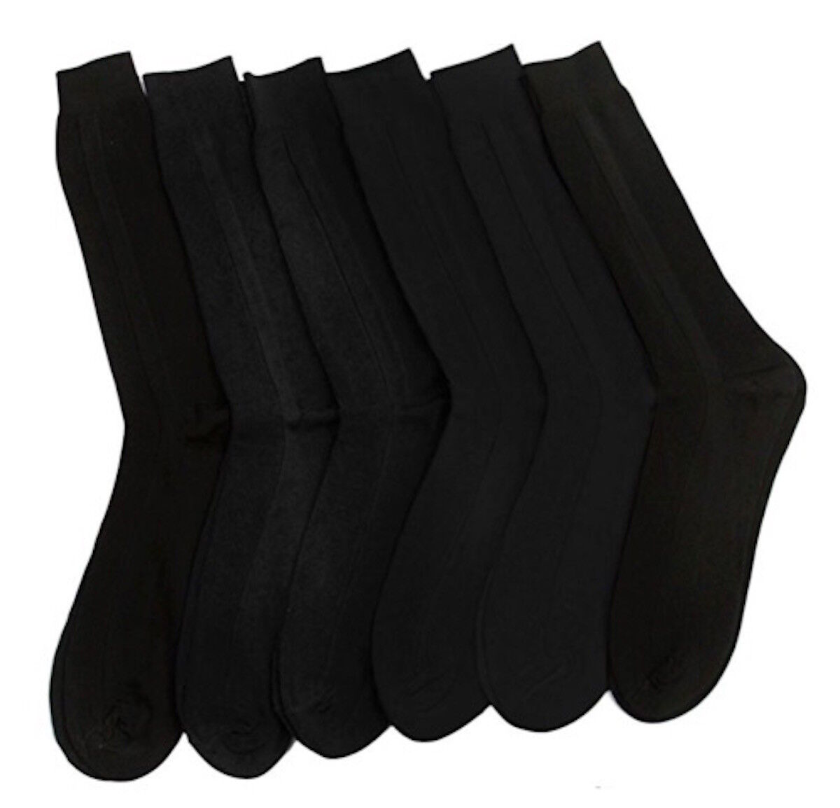 1 6 12 24 Pairs Men BLACK Ribbed Crew Dress Socks 100% Ribbe