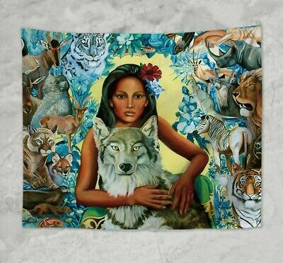 US SELLER- decor furniture mother earth animals hamony wall hanging tapestry
