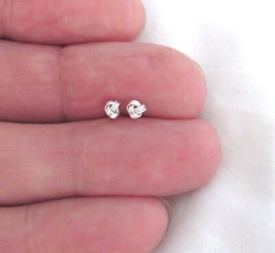 Sterling Silver 3mm love knot tiny post stud earrings.