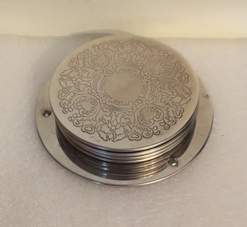 Vintage Set 6 Silver Plated Wine Coasters Oriental? On Stand
