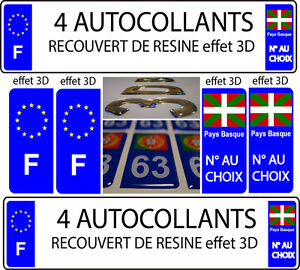 4 stickers plaque immatriculation auto tuning doming 3d resine pays basque f ebay. Black Bedroom Furniture Sets. Home Design Ideas