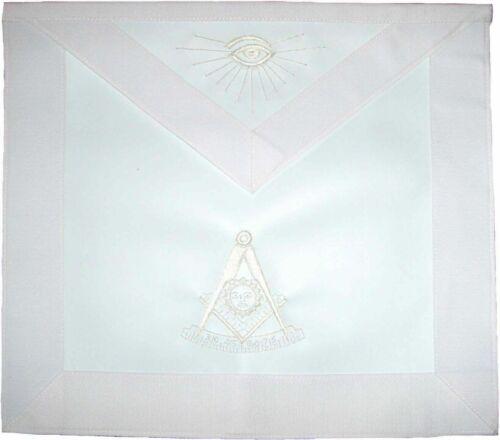 MASONIC PAST MASTER APRON ALL WHITE (%100 Lambskin)  HAND EMBROIDERED