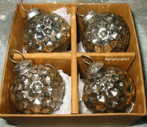 Sleigh Hill Dark Silver Mercury Glass Kugel Style Christmas Ornaments - Set of 4
