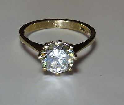 GENUINE MOISSANITE DIAMOND SOLITAIRE 9 CARAT SOLID