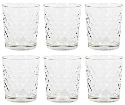 6x Cocktail whisky drinking glasses tumblers highball ALIAN diamonds 360ml