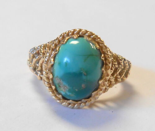 Beautiful Old Turquoise 14K Yellow Gold Woven Basketweave Shank Ring Size 4