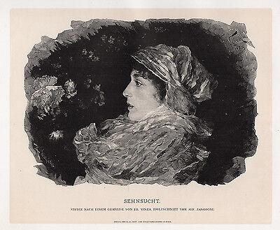"Beautiful Francesco Vinea 1800s Woodcut ""Daydreams of a Girl"" SIGNED Framed COA"